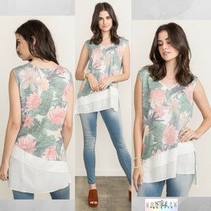 Ava: Floral Sleeveless Layered Hem Top by Mystree (Premier Brand)