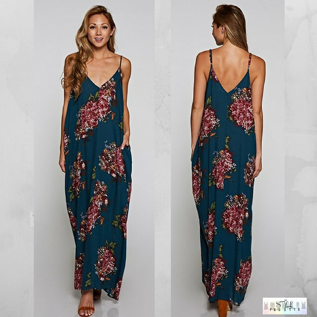 Noelle:  Teal Floral Cocoon Maxi by Love Stitch (Premier Brand)