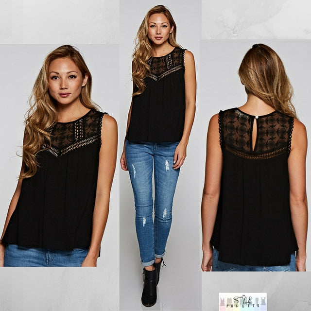 Bailee:  Black Detailed Sleeveless Top by Love Stitch (Premier Brand)
