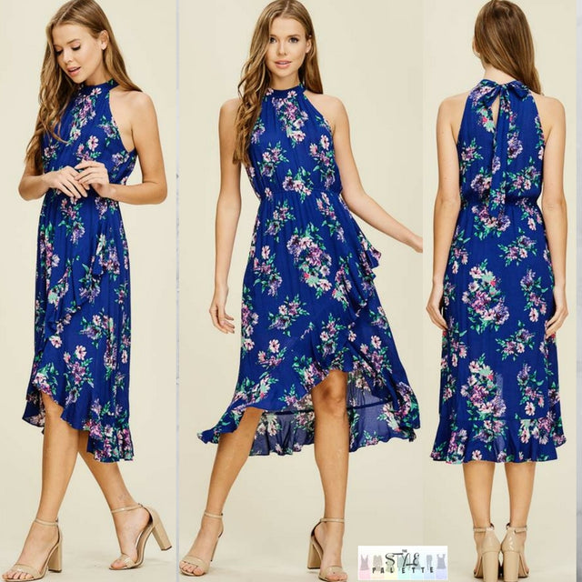 Melody:  Blue Floral Midi Dress by Staccato
