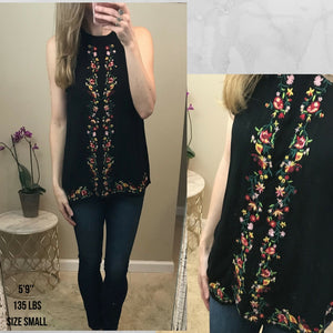 Rikki:  Embroidered Keyhole Back Top by Staccato