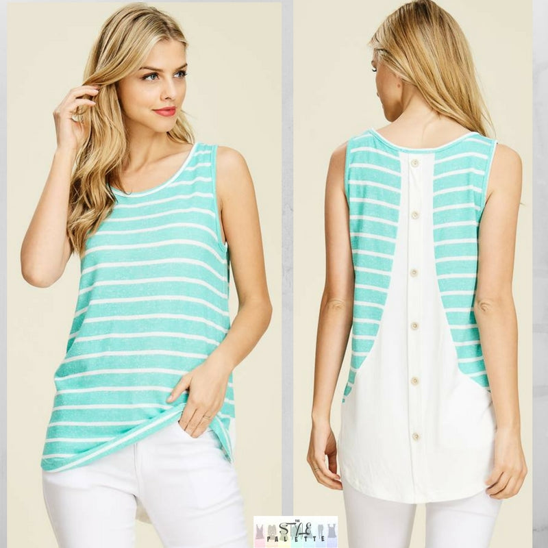 Carleigh:  Back Button Sleeveless Tank by Staccato (Mint)