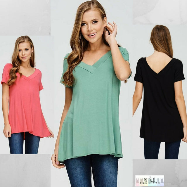 Sarah:  Perfect Double V Top by Emerald