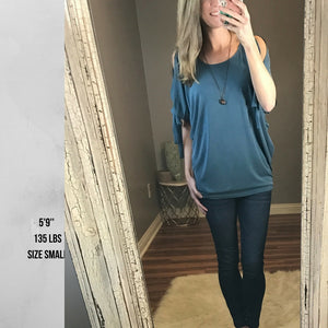 Breanna:  Slit Sleeve Teal Modal Top by She + Sky