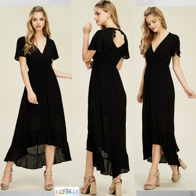 Analeigh:  Black Crochet Back Accent Midi Dress by Staccato