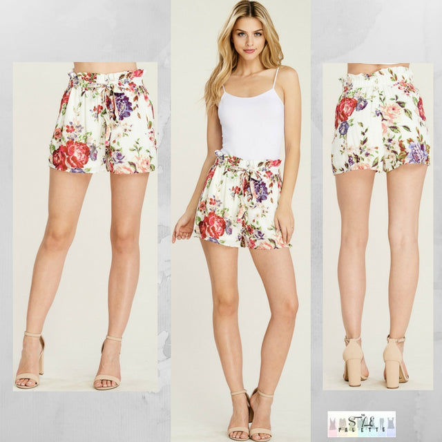Annette:  Floral Drawstring Shorts by Staccato