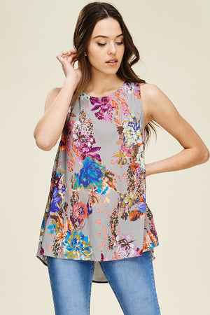 Sara: Floral Sleeveless Top by Staccato