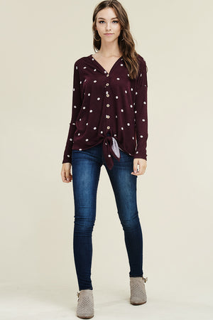 Jacki: Maroon Polka Dot Tie Front Button Top by Staccato