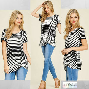 Kathleen:  Striped Side Knot Short Sleeve Top by White Birch