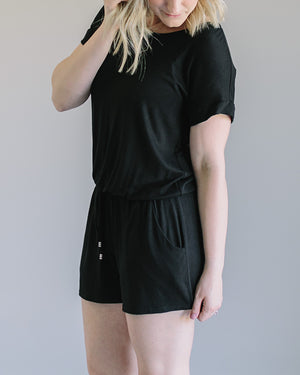 Karen:  Black Casual Short Sleeve Romper