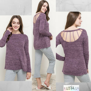 Tonya:  Purple Detailed Back Lightweight Sweater Top by Hem and Thread (Premier Brand)