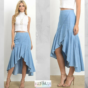 Staci:  Tencel Layered Midi Skirt by Le Lis