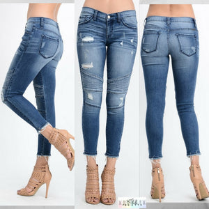 Chelsi:  Light Wash Moto Skinny Jeans by Kan Can USA