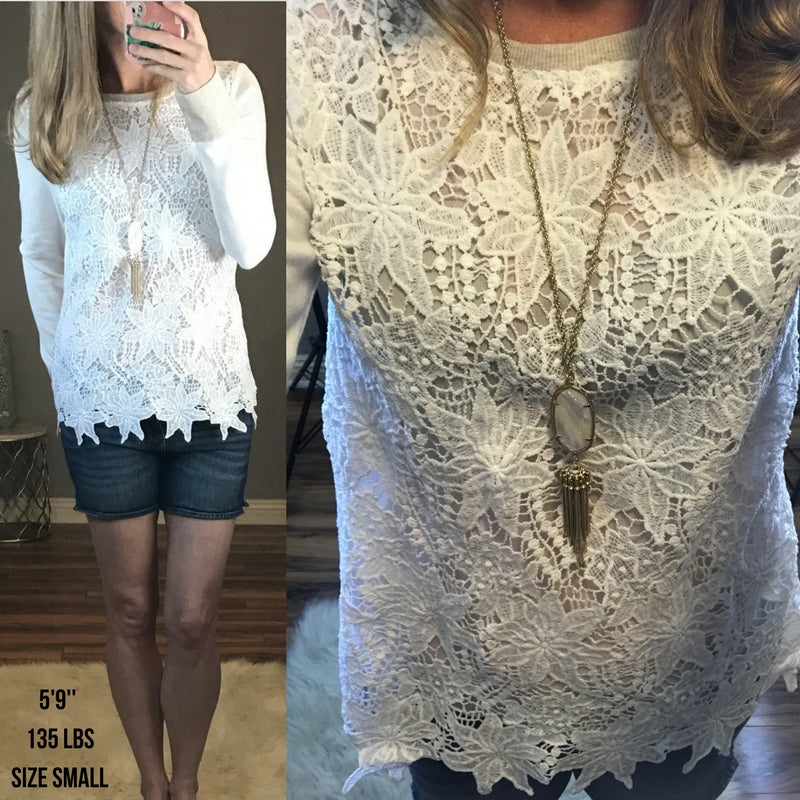 Aubreigh:  Lace Crochet Two-Toned Top by Mystree (Premier Brand)