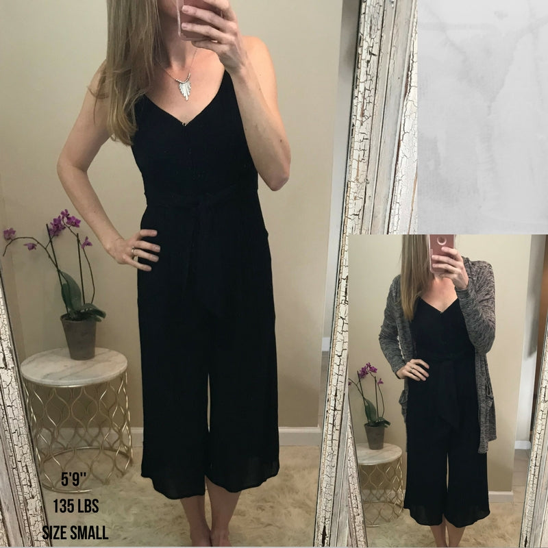Pamela:   Black Tie Waist Jumpsuit by Staccato