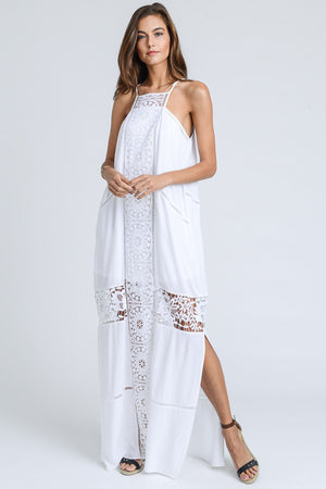 Catherine:  Crochet Lace Accent Lined White Maxi Dress