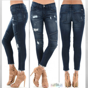 Chelsi:  Dark Wash Moto Skinny Jeans by KanCan USA
