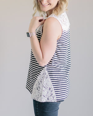 Sasha: Striped Lace Accent Sleeveless Top