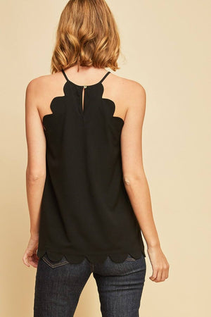 Terri: Black Scalloped Edge Tank