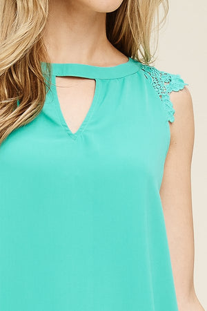 Stacey:  Teal Crochet Sleeve Top by Staccato