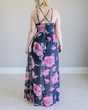 Skylar:  Navy Cross Back Floral Dress