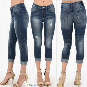Elisa:  Distressed Capri Length Jeans by KanCan USA