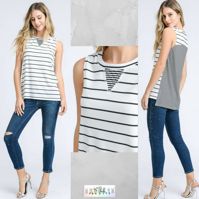 Juliet:  Striped Black and White Sleeveless Top by Doe and Rae