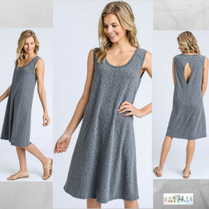 Kim:  Grey Sleeveless Diamond Back Dress by Doe and Rae