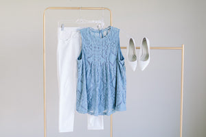 Julia:   Lace Sleeveless Top (Blue version)
