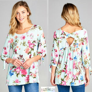 Elli:  Floral Tie Sleeve Cross Back Top by Vanilla Bay