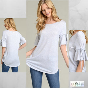 Catelyn:  Light Blue Detailed Sleeve Top by Vanilla Bay