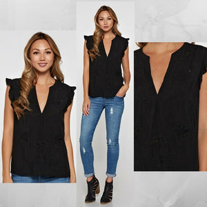 Kerri: Black Embroidered and Detailed Top by Love Stitch (Premier Brand)