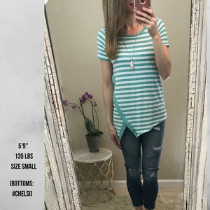 June:  Mint Striped Short Sleeve Top by Staccato