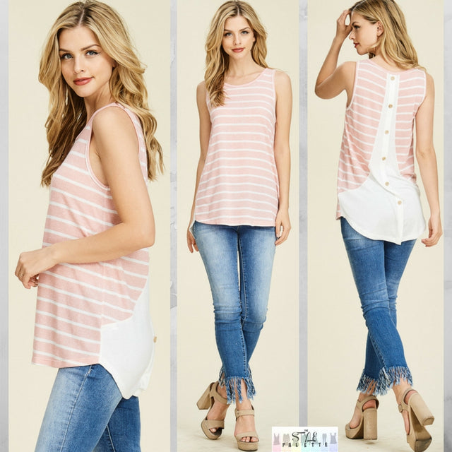 Carleigh:  Back Button Sleeveless Tank by Staccato