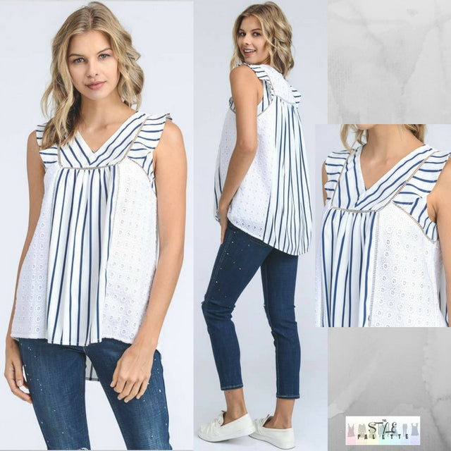Finley:  Eyelet and Striped Top by Doe and Rae