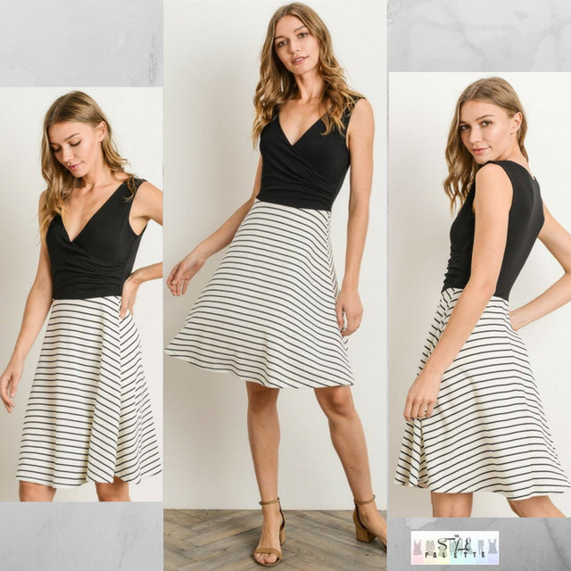 Rachael:  Black Striped Contrast Dress by Gilli
