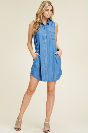 Terri:  Tencel Button Up Shirt Dress
