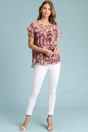 Tonya:  Maroon and Ivory Floral Top by Doe and Rae
