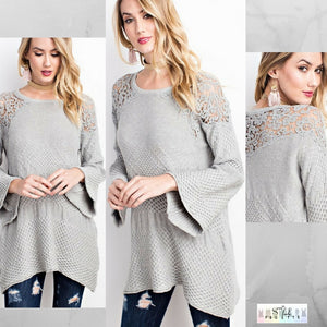 Mia:  Crochet Detailed Sweater by Easel