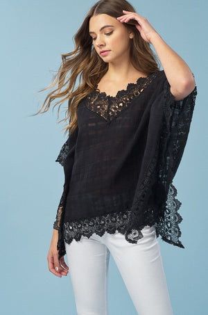 Shannon: Black Detailed Poncho by Listicle