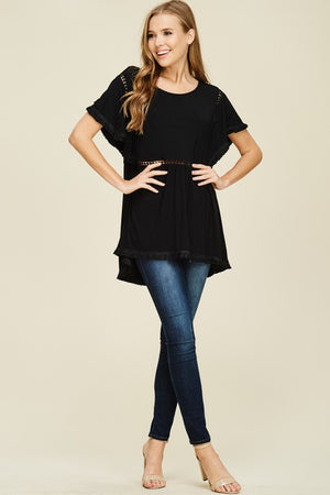Stella: Black Detailed Short Sleeve Top