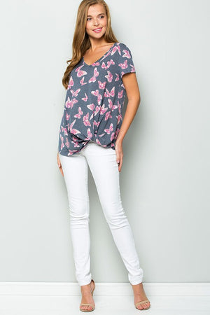 Marcia:  Butterfly Print Short Sleeve Top