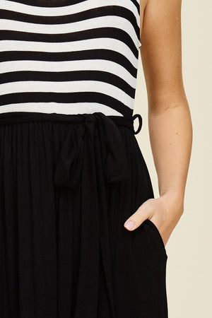 Rachael: Black and White Pocket Striped Maxi Dress