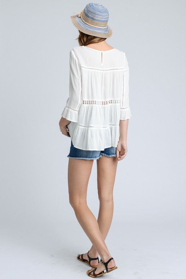 Brielle:  White Crochet 3/4 Sleeve Top by Doe and Rae