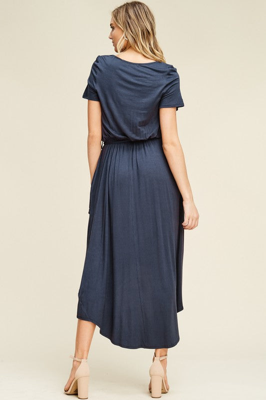 Evelyn:  Waterfall Tie Waist Slate Blue Dress