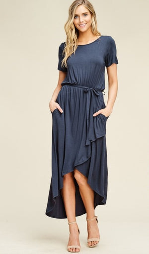 Michelle:  Waterfall Tie Waist Slate Blue Dress