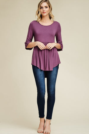 Christie: Plum 3/4 Sleeve Top
