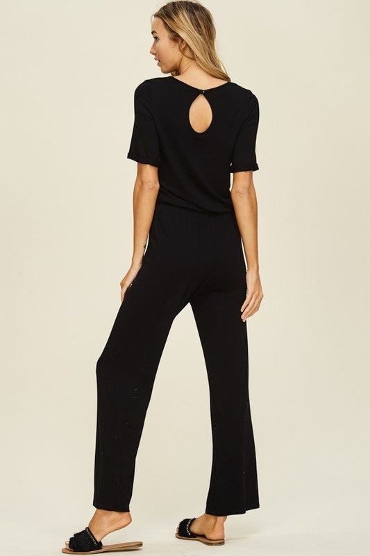 Evelyn:  Black Keyhole Back Jumpsuit