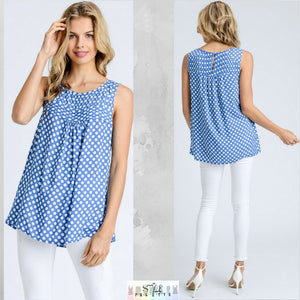 Farrah:  Polka Dot Sleeveless Top by Doe and Rae