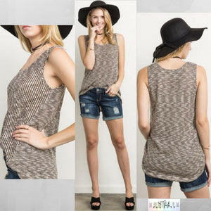 Kalie:  Sleeveless Brown Mix Sweater Tank by Mystree (Premier Brand)